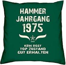 Geburtstagsgeschenk Kopfkissen Sofakissen Hammer Jahrgang 1975 zum 43. Geburtstag Geschenkidee Deko Zierkissen Größe 40 X 40 cm Farbe:dunkelgrün