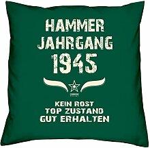 Geburtstagsgeschenk Kopfkissen Sofakissen Hammer Jahrgang 1945 Zum 72. Geburtstag Geschenkidee Deko Zierkissen Größe 40 X 40 cm Farbe:dunkelgrün