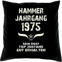 Geburtstagsgeschenk Kopfkissen Sofakissen Hammer Jahrgang 1975 Zum 42. Geburtstag Geschenkidee Deko Zierkissen Größe 40 X 40 cm Farbe:schwarz