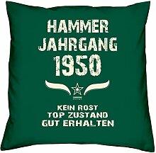 Geburtstagsgeschenk Kopfkissen Sofakissen Hammer Jahrgang 1950 zum 68. Geburtstag Geschenkidee Deko Zierkissen Größe 40 X 40 cm Farbe:dunkelgrün