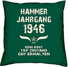 Geburtstagsgeschenk Kopfkissen Sofakissen Hammer Jahrgang 1946 zum 72. Geburtstag Geschenkidee Deko Zierkissen Größe 40 X 40 cm Farbe:dunkelgrün