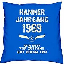 Geburtstagsgeschenk Kopfkissen Sofakissen Hammer Jahrgang 1969 Zum 48. Geburtstag Geschenkidee Deko Zierkissen Größe 40 X 40 cm Farbe:royal-blau