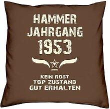 Geburtstagsgeschenk Kopfkissen Sofakissen Hammer Jahrgang 1953 Zum 64. Geburtstag Geschenkidee Deko Zierkissen Größe 40 X 40 cm Farbe:braun
