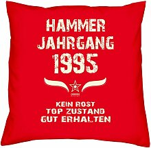 Geburtstagsgeschenk Kopfkissen Sofakissen Hammer Jahrgang 1995 Zum 22. Geburtstag Geschenkidee Deko Zierkissen Größe 40 X 40 cm Farbe:ro