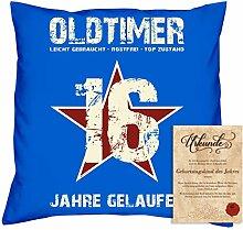 Geburtstagsgeschenk Männer Frauen : Oldtimer 16 : Kissen + Urkunde Geschenkidee Sohn Tochter Teenager Freund Jahrgang 2002 Farbe:royal-blau