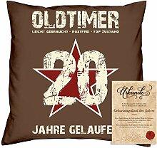Geburtstagsgeschenk Männer Frauen : Oldtimer 20 : Kissen + Urkunde Geschenkidee Jahrgang 1998 Farbe:braun