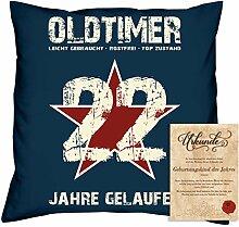 Geburtstagsgeschenk Männer Frauen : Oldtimer 22 : Kissen + Urkunde Geschenkidee Jahrgang 1996 Farbe:navy-blau