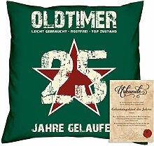 Geburtstagsgeschenk Männer Frauen : Oldtimer 25 : Kissen + Urkunde Geschenkidee Jahrgang 1993 Farbe:dunkelgrün