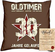 Geburtstagsgeschenk Männer Frauen : Oldtimer 30 : Kissen + Urkunde Geschenkidee Jahrgang 1988 Farbe:braun