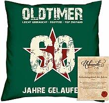 Geburtstagsgeschenk Männer Frauen : Oldtimer 60 : Kissen + Urkunde Geschenkidee Papa Mama Opa Oma Jahrgang 1958 Farbe:dunkelgrün