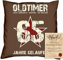 Geburtstagsgeschenk Männer Frauen : Oldtimer 65 : Kissen + Urkunde Geschenkidee Papa Mama Opa Oma Jahrgang 1953 Farbe:braun