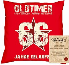 Geburtstagsgeschenk Männer Frauen : Oldtimer 66 : Kissen + Urkunde Geschenkidee Papa Mama Opa Oma Jahrgang 1952 Farbe:ro