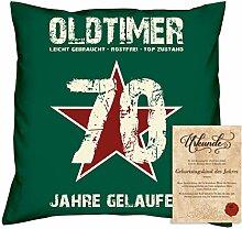 Geburtstagsgeschenk Männer Frauen : Oldtimer 70 : Kissen + Urkunde Geschenkidee Papa Mama Opa Oma Jahrgang 1948 Farbe:dunkelgrün