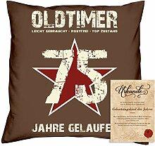 Geburtstagsgeschenk Männer Frauen : Oldtimer 75 : Kissen + Urkunde Geschenkidee Papa Mama Opa Oma Jahrgang 1943 Farbe:braun