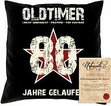 Geburtstagsgeschenk Männer Frauen : Oldtimer 80 : Kissen + Urkunde Geschenkidee Papa Mama Opa Oma Jahrgang 1938 Farbe:schwarz