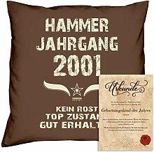 Geburtstagskissen zum 17. Geburtstag & Urkunde : Hammer Jahrgang 2001 : Geschenkidee Geburtstagsgeschenk Kissen 40 x 40 Bezug Füllung Farbe: braun
