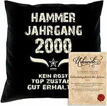Geburtstagskissen zum 18. Geburtstag & Urkunde : Volljährigkeit : Hammer Jahrgang 2000 : Geschenkidee Geburtstagsgeschenk Kissen 40 x 40 Bezug Füllung Farbe: schwarz