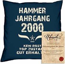 Geburtstagskissen zum 18. Geburtstag & Urkunde : Volljährigkeit : Hammer Jahrgang 2000 : Geschenkidee Geburtstagsgeschenk Kissen 40 x 40 Bezug Füllung Farbe: navy-blau