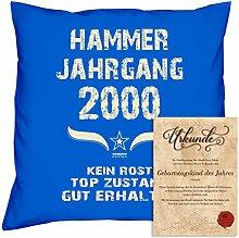 Geburtstagskissen zum 18. Geburtstag & Urkunde : Volljährigkeit : Hammer Jahrgang 2000 : Geschenkidee Geburtstagsgeschenk Kissen 40 x 40 Bezug Füllung Farbe: royal-blau