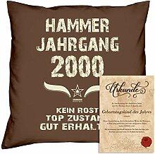 Geburtstagskissen zum 18. Geburtstag & Urkunde : Volljährigkeit : Hammer Jahrgang 2000 : Geschenkidee Geburtstagsgeschenk Kissen 40 x 40 Bezug Füllung Farbe: braun