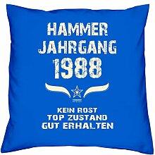 Geburtstagskissen zum 30. Geburtstag & Urkunde : Jahrgang 1988 : Geschenkidee Geburtstagsgeschenk Kissen 40 x 40 inkl. Füllung Farbe: royal-blau
