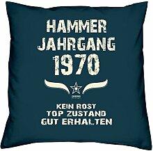 Geburtstagskissen zum 48. Geburtstag & Urkunde : Jahrgang 1970 : Geschenkidee Geburtstagsgeschenk Kissen 40 x 40 inkl. Füllung Farbe: navy-blau