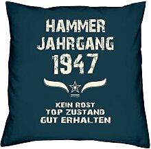 Geburtstagskissen zum 71. Geburtstag & Urkunde : Jahrgang 1947 : Geschenkidee Geburtstagsgeschenk Kissen 40 x 40 inkl. Füllung Farbe: navy-blau
