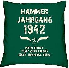 Geburtstagskissen zum 76. Geburtstag & Urkunde : Jahrgang 1942 : Geschenkidee Geburtstagsgeschenk Kissen 40 x 40 inkl. Füllung Farbe: dunkelgrün