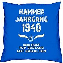 Geburtstagskissen zum 78. Geburtstag & Urkunde : Jahrgang 1940 : Geschenkidee Geburtstagsgeschenk Kissen 40 x 40 inkl. Füllung Farbe: royal-blau