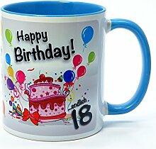 Geburtstagstasse - Happy Birthday - Endlich 18 - Lustiger Kaffeebecher, eine tolle Geschenkidee zum Geburtstag. (hellblau)
