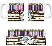 Geburtstagstorte Kaffeebecher zum 50. Geburtstag mit 50 Kerzen - eine coole Tasse von trendaffe - passende weitere Begriffe dazu: 50 Jahre Tasse Torte Kuchen 50 Kerzen Geschenkidee Geburtstagstasse Schwarzwälder Kirschtorte Kuchen Tasse Kaffeetasse Becher mug Teetasse oder Büro.
