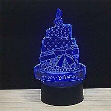 Geburtstagstorte Kerze 3D Led Visuelle Nachtlicht