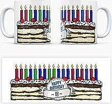 Geburtstagstorten Kaffeebecher zum 18. Geburtstag - 18 Jahre Tasse Torte Kuchen 18 Kerzen Geschenkidee Geburtstagstasse Schwarzwälder Kirschtorte mug