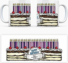 Geburtstagstorten Kaffeebecher zum 35. Geburtstag - 35 Jahre Tasse Torte Kuchen 35 Kerzen Geschenkidee Geburtstagstasse Schwarzwälder Kirschtorte mug
