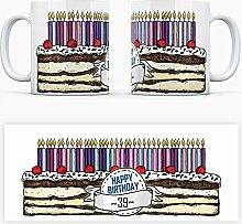Geburtstagstorten Kaffeebecher zum 39. Geburtstag - 39 Jahre Tasse Torte Kuchen 39 Kerzen Geschenkidee Geburtstagstasse Schwarzwälder Kirschtorte mug