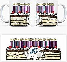 Geburtstagstorten Kaffeebecher zum 40. Geburtstag - 40 Jahre Tasse Torte Kuchen 40 Kerzen Geschenkidee Geburtstagstasse Schwarzwälder Kirschtorte mug