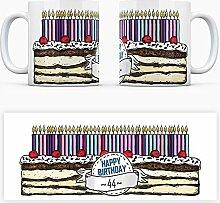 Geburtstagstorten Kaffeebecher zum 44. Geburtstag - 44 Jahre Tasse Torte Kuchen 44 Kerzen Geschenkidee Geburtstagstasse Schwarzwälder Kirschtorte mug