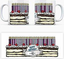 Geburtstagstorten Kaffeebecher zum 46. Geburtstag - 46 Jahre Tasse Torte Kuchen 46 Kerzen Geschenkidee Geburtstagstasse Schwarzwälder Kirschtorte mug