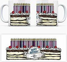 Geburtstagstorten Kaffeebecher zum 49. Geburtstag - 49 Jahre Tasse Torte Kuchen 49 Kerzen Geschenkidee Geburtstagstasse Schwarzwälder Kirschtorte mug