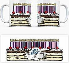 Geburtstagstorten Kaffeebecher zum 55. Geburtstag - 55 Jahre Tasse Torte Kuchen 55 Kerzen Geschenkidee Geburtstagstasse Schwarzwälder Kirschtorte mug