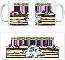Geburtstagstorten Kaffeebecher zum 56. Geburtstag - 56 Jahre Tasse Torte Kuchen 56 Kerzen Geschenkidee Geburtstagstasse Schwarzwälder Kirschtorte mug