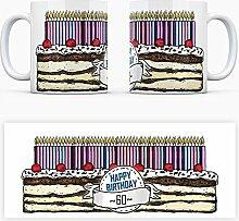 Geburtstagstorten Kaffeebecher zum 60. Geburtstag - 60 Jahre Tasse Torte Kuchen 60 Kerzen Geschenkidee Geburtstagstasse Schwarzwälder Kirschtorte mug