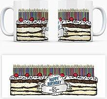 Geburtstagstorten Kaffeebecher zum 65. Geburtstag - 65 Jahre Tasse Torte Kuchen 65 Kerzen Geschenkidee Geburtstagstasse Schwarzwälder Kirschtorte mug