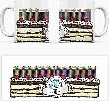 Geburtstagstorten Kaffeebecher zum 70. Geburtstag - 70 Jahre Tasse Torte Kuchen 70 Kerzen Geschenkidee Geburtstagstasse Schwarzwälder Kirschtorte mug