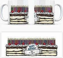 Geburtstagstorten Kaffeebecher zum 75. Geburtstag - 75 Jahre Tasse Torte Kuchen 75 Kerzen Geschenkidee Geburtstagstasse Schwarzwälder Kirschtorte mug