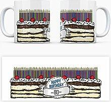 Geburtstagstorten Kaffeebecher zum 80. Geburtstag - 80 Jahre Tasse Torte Kuchen 80 Kerzen Geschenkidee Geburtstagstasse Schwarzwälder Kirschtorte mug