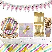 Gebutstag Party Set YUESEN 47PCS Einhorn
