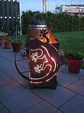 GeckFire Gecko Motiv Feuersäule Rost Feuerstelle