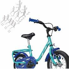 Gecko Aufkleber Fahrrad mit Fußspuren mehrteilige