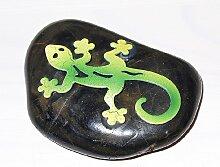 Gecko aus Metall auf Stein 5 cm